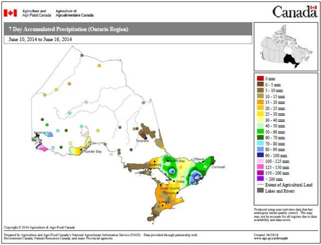 Figure 5: 7 Day Accumulated Precipitation, Ontario, June 10-June 16 (Source Agriculture and Agri-food Canada).
