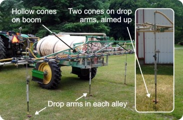 "Figure 1 – The ""perfect"" ginseng spray boom. 25 hollow cones and four drop arms sporting 2 full cones apiece."