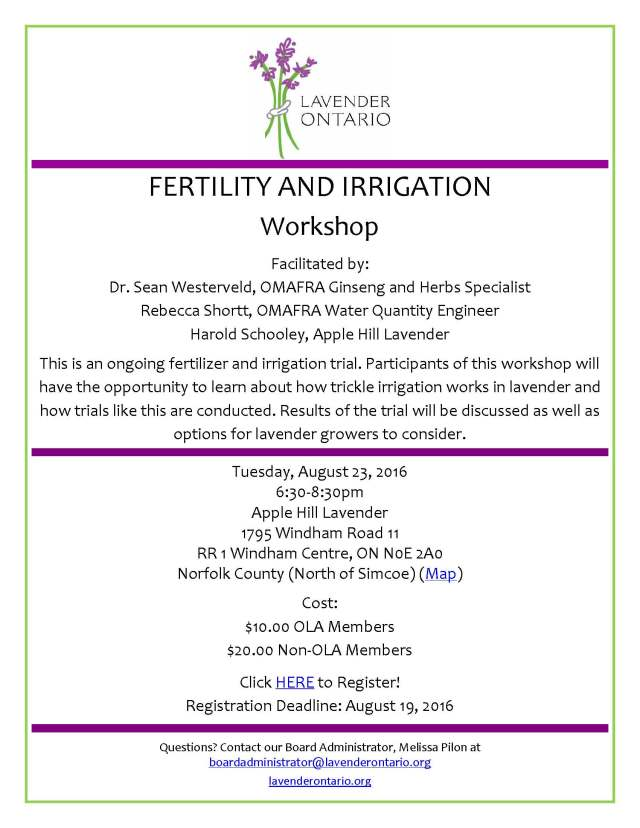 LAVENDER FERTILITY AND IRRIGATION workshop